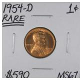 1954 D Lincoln Wheat Penny MS67