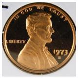 1973 S DCAM Lincoln Memorial Penny PR69
