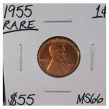 1955 Lincoln Wheat Penny MS66