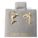 14K  Dolphin Screwback Earrings