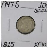1947 S Roosevelt Dime XF40