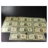 1935F US $1 Bill, 1957 US $1 Bill, 1953C US $2 Bil
