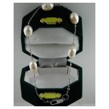 Silver Tone Chained Bracelet With White Beads