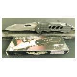 Medium Large Black Serrated Pocket Knives