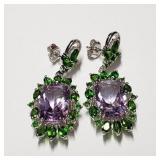 $500 Silver Amethyst(10ct) Tsovorite(3ct) Earrings