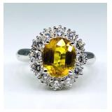 $8,780 Value, Yellow Sapphire & Diamond Ring