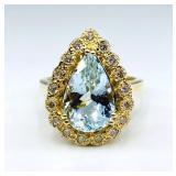 $4,500 Value, Aquamarine & Diamond Ring