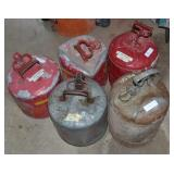 (5) GAS CANS ASSORTED SIZES