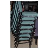 7 GREEN STACKABLE CHAIRS