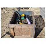WOODEN BOX WITH ASSORTED TOOLS AND MISC. ITEMS