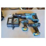 MAKITA TOOL BAG WITH ASSORTED TOOLS AND CHARGERS