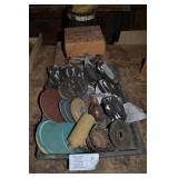 ASSORTED GRINDING DISCS AND SAND PAPER