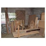 ASSORTED WOOD, 2 DOLLIES AND OTHER ITEMS IN