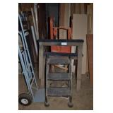 TWO SAW HORSES, STEP LADDER AND 2 WHEEL DOLLY