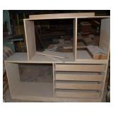 INCOMPLETE WOODEN ENTERTAINMENT CENTER WITH 4  DRA
