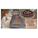 WALL ART AND TABLE , CLOCK, BARBED WIRE WREATH, ET