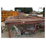 1 LARGE METAL TABLE AND SCRAP CONTENTS SURROUNDING