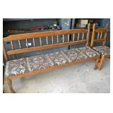 WOODEN BENCH WITH MATCHING CHAIR