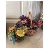 2 Silk Flower Baskets