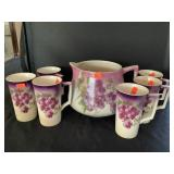 Cartwright China Pitcher With 6 Mugs, Staining
