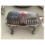 Silver Plate Roll Top Butter Dish