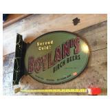 Boylans birch beers flange tin sign scratches
