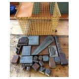 Printers blocks and wire storage basket 13x12x9