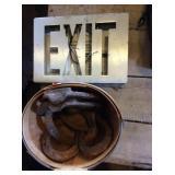 Horseshoes, basket, Exit sign n color insert