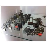 Padlock and keys assortment, brass, some railroad