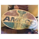 Amoco Plastic/fiberglass sign 74x44, has cracks