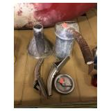 Oil can, funnel, gas cap and oil spouts