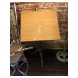 Drafting table on cast iron base