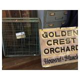 Golden Crest Orchard sign and bread racks