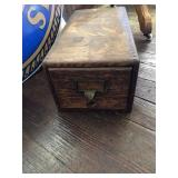 Wooden card file box