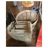 Gas can and apple basket