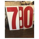 Double sided metal numbers