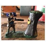 Cast Iron mechanical Teddy and the Bear bank gun
