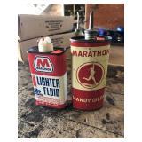 Marathon oiler and Lighter fluid cans