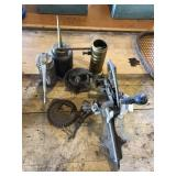 Oil cans and apple peeler