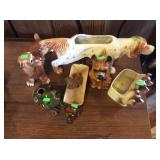 Assortment of dog planters and figures