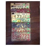 7 Indiana license plates and one Florida plate
