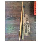 Paddle end , brass horn and yard stick