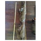 Fishing net with floats and stakes