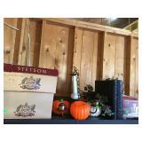 Empty Stetson hat boxes, light fixture, Halloween