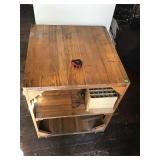 """Wooden Table On Casters No Contents Measures 26""""w"""