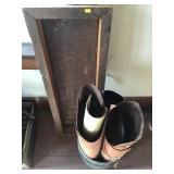 Leather, Primitive Wood Frame