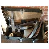 Footlocker And Contents, Tongs, Saws, Car Parts