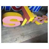 Plastic Letters, S, H, E, L, L 18in Some Damage,