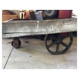 Wood Framed Cart With Cast Wheels