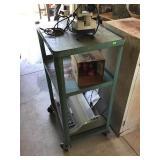 Steel Rolling Cart & Vintage Electronics